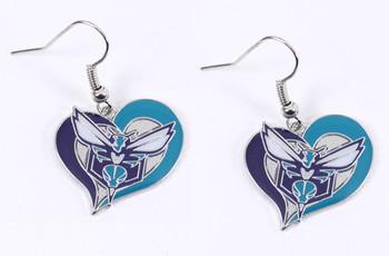 Charlotte Hornets Swirl Heart Earrings