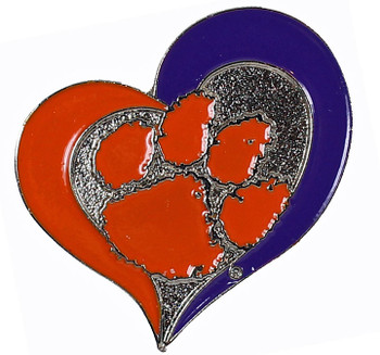 Clemson Tigers Swirl Heart Pin