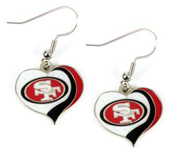 San Francisco 49ers Swirl Heart Glitter Earrings