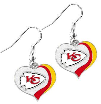Kansas City Chiefs Swirl Heart Earrings