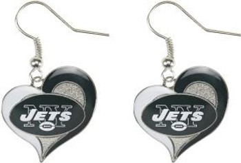 New York Jets Swirl Heart Earrings