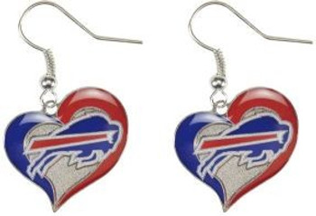 Buffalo Bills Swirl Heart Earrings