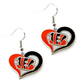 Cincinnati Bengals Swirl Heart Earrings