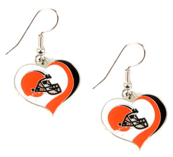 Cleveland Browns Swirl Heart Earrings