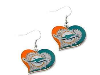 Miami Dolphins Swirl Heart Earrings