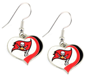 Tampa Bay Buccaneers Swirl Heart Earrings