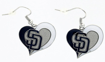 San Diego Padres Swirl Heart Earrings