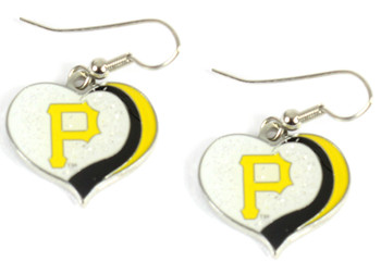 Pittsburgh Pirates Swirl Heart Earrings