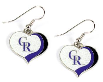 Colorado Rockies Swirl Heart Earrings