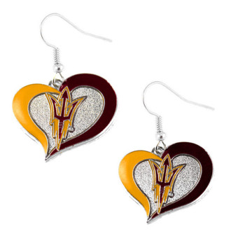 Arizona State Swirl Heart Earrings