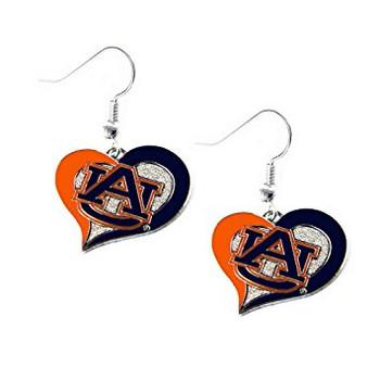 Auburn Tigers Swirl Heart Earrings