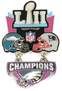 Super Bowl LII (52) Oversized Commemorative Pin - Dangler Style