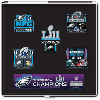 Philadelphia Eagles Super Bowl LII (52) Champions Five Pin Set - Limited 5,000