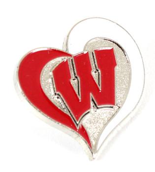 Wisconsin Badgers Heart Pin