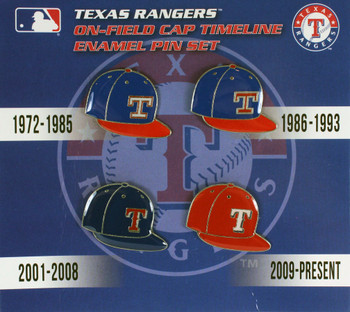 Texas Rangers Cooperstown Collection Cap Timeline Pin Set