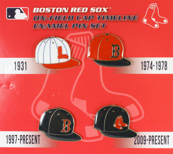 Boston Red Sox Cooperstown Collection Cap Timeline Pin Set