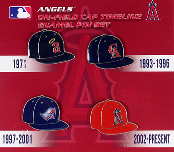 Los Angeles Angels Cooperstown Collection Cap Timeline Pin Set