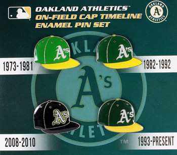 Oakland A's Cooperstown Collection Cap Timeline Pin Set