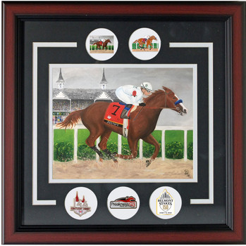 Justify 2018 Triple Crown Winner Framed Art Painting Print w/ Triple Crown Pins