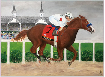 Justify 2018 Triple Crown Winner Painting Pin