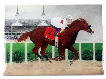 "Justify 2018 Triple Crown Winner Art Pin - From ""Justify"" Painting"
