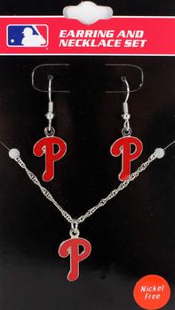 Philadelphia Phillies Earrings & Necklace Combo