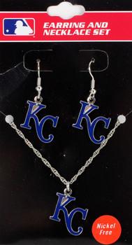 Kansas City Royals Earrings & Necklace Combo