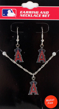 Los Angeles Angels Earrings & Necklace Combo