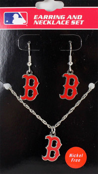 Boston Red Sox Earrings & Necklace Combo