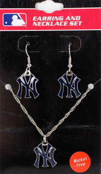 New York Yankees Earrings & Necklace Combo