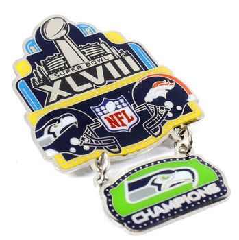 Super Bowl XLVIII (48) Oversized Commemorative Pin - Dangler Style