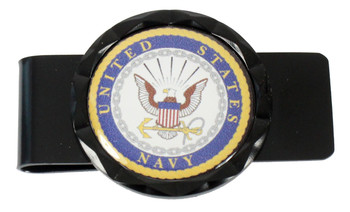 Navy Diamond Cut Money Clip