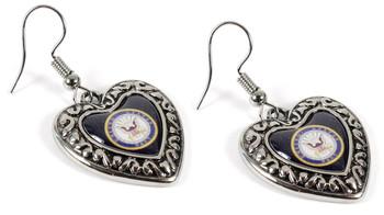 Navy Charmed Heart Earrings