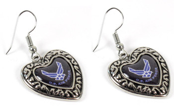 Air Force Charmed Heart Earrings