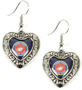 Marines Charmed Heart Earrings