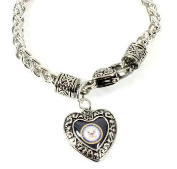 Navy Charmed Heart Bracelet