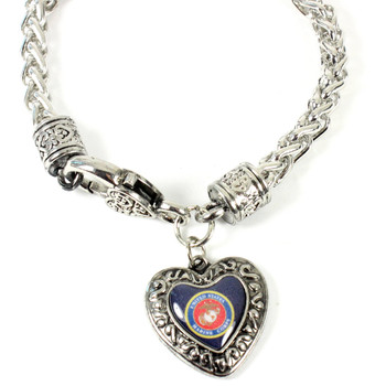 Marines Charmed Heart Bracelet