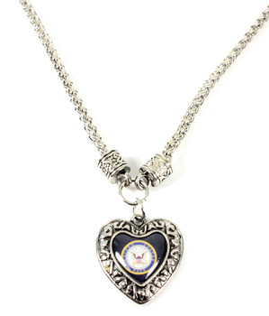 Navy Charmed Heart Necklace