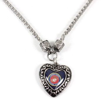 Marines Charmed Heart Necklace