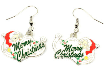 Santa Claus Merry Christmas Earrings - Silver