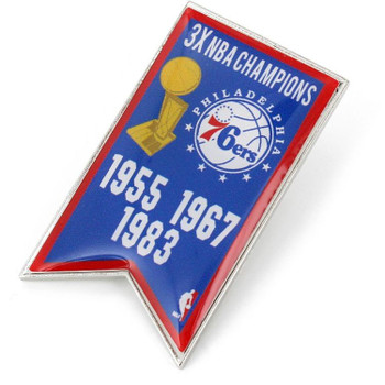 Philadelphia 76ers 3-Time NBA Champs Pin
