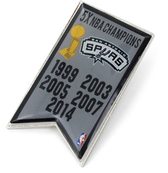 San Antonio Spurs 5-Time NBA Champions Pin