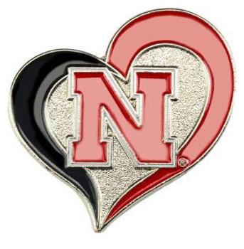 Nebraska Cornhuskers Swirl Heart Pin