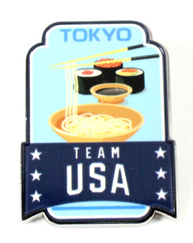 2020 Tokyo Olympics Team USA Noodles and Sushi Lapel Pin