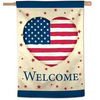 "Welcome America Heart Vertical Flag - 28"" x 40"""