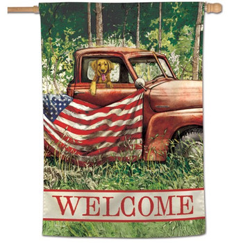 """Welcome"" God's Country Vertical Flag - 28"" x 40"""