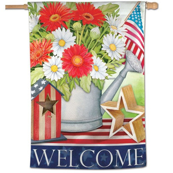 """Welcome"" Vertical Patriotic Flag - 28"" x 40"""