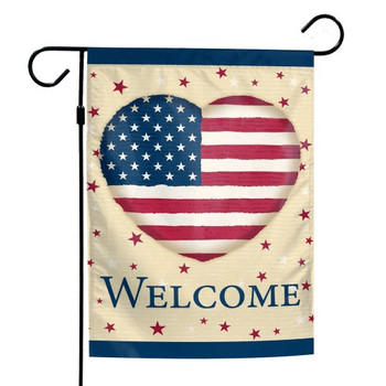 """Welcome"" Patriotic Heart Garden Flag - 12"" x 18"""