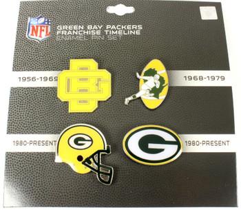 Green Bay Packers Logo / Helmet Evolution Pin Set