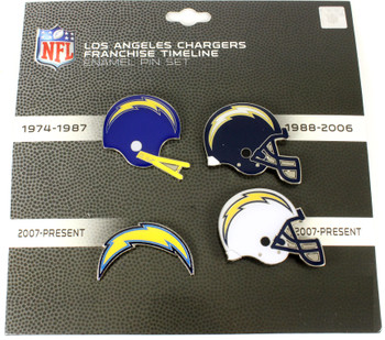 Los Angeles Chargers Logo / Helmet Evolution Pin Set
